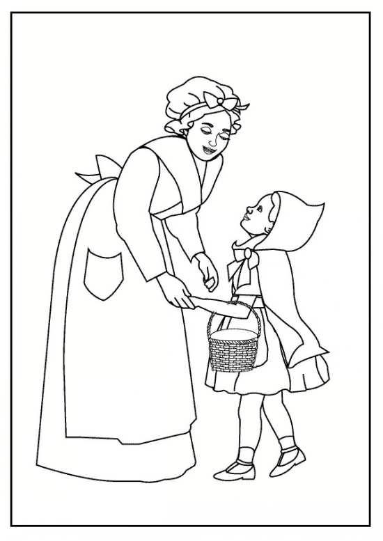 نقاشی شنل قرمزی و مادرش برای رنگ آمیزی