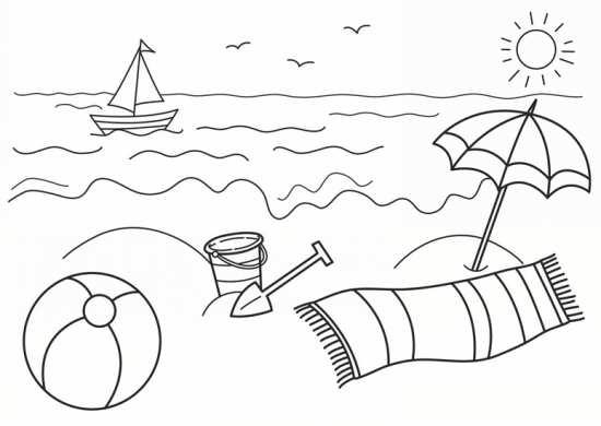 نقاشی دریا و خورشید باری کودکان