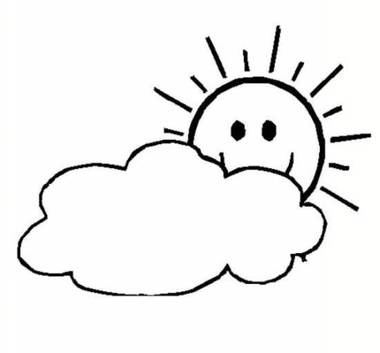 نقاشی ابر و خورشید برای کودکان