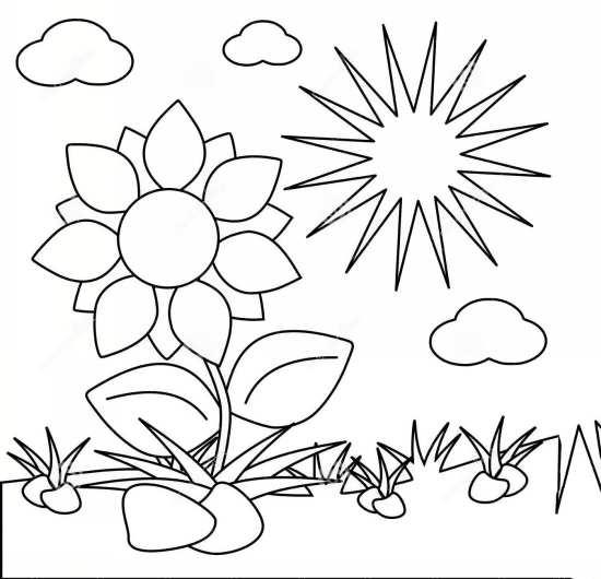 نقاشی گل و خورشید