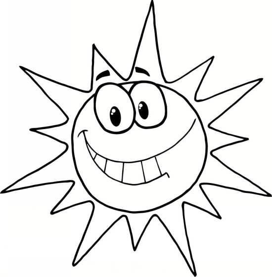 نقاشی خورشید زیبا برای رنگ آمیزی کودکان