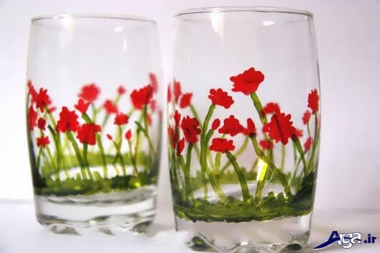 مدل نقاشی ویترای روی لیوان شیشه ایی