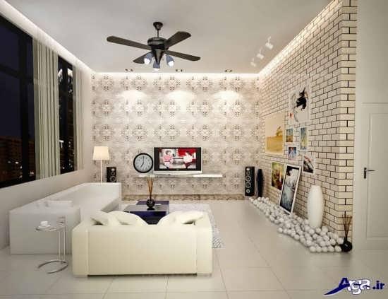 کاغذ دیواری اتاق پذیرایی زیبا