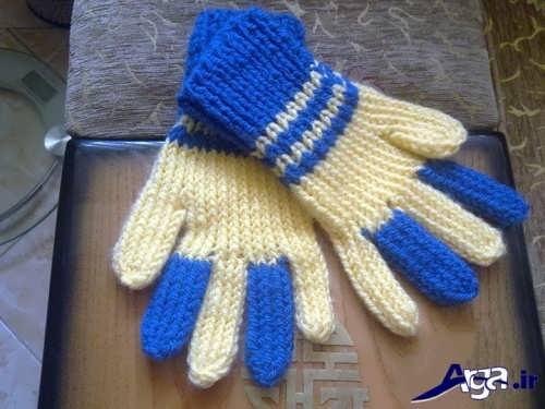 مدل دستکش دو رنگ 5 انگشتی