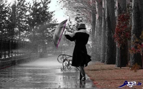 عکس جدایی در زیر باران