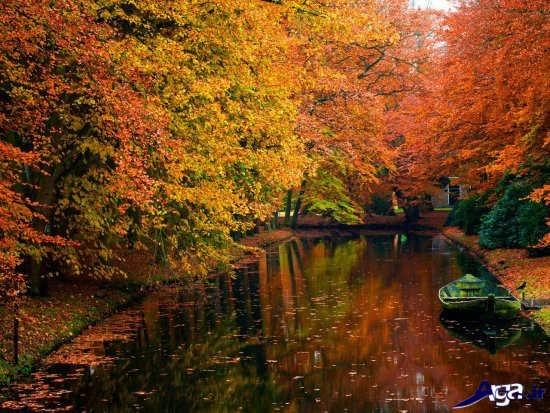 تصویر رودخانه در پاییز