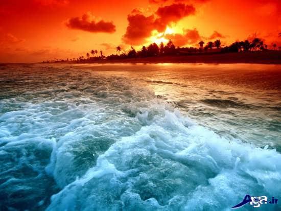 منظره زیبا از دریا و غروب