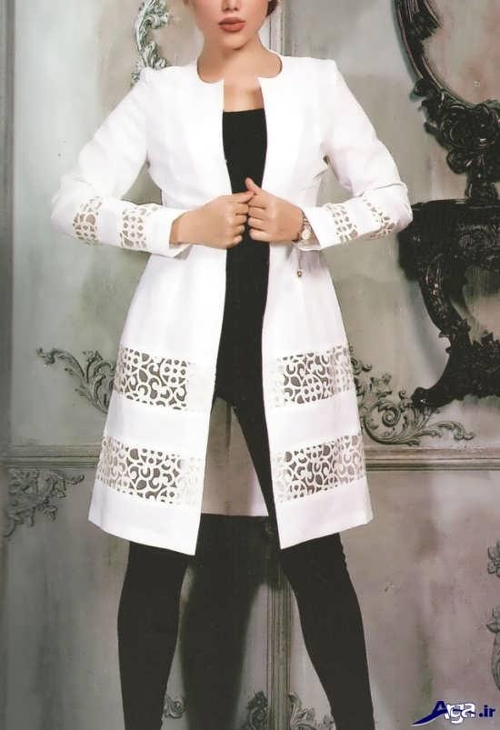 مدل مانتو کتی سفید اسپرت