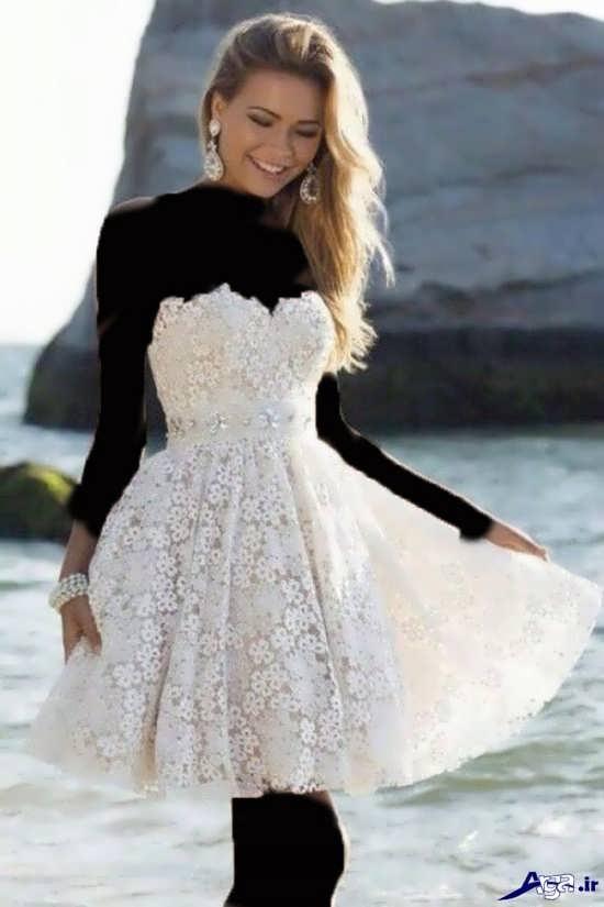 لباس مجلسی زنانه سفید کوتاه