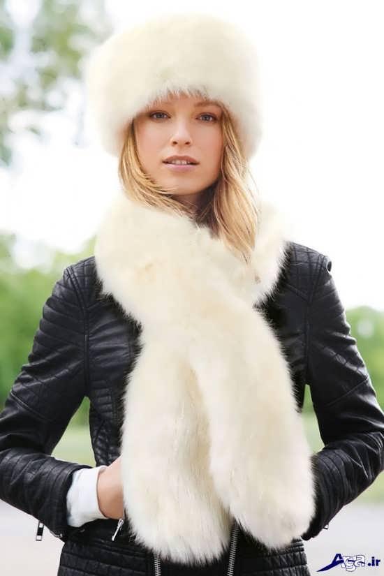 مدل شال گردن بافتنی دخترانه سفید