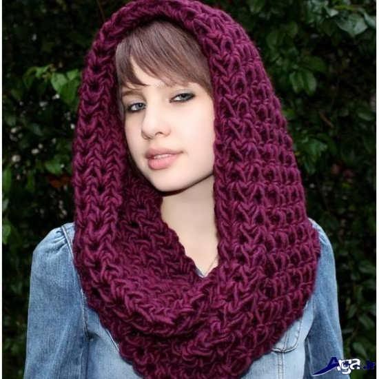 انواع شال گردن های زیبای زرشکی دخترانه