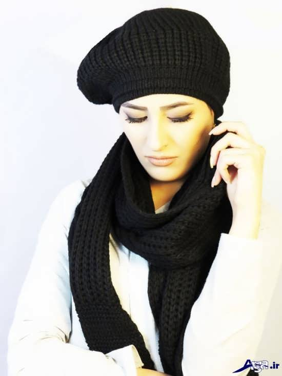 مدل کلاه وشال مشکی دخترانه