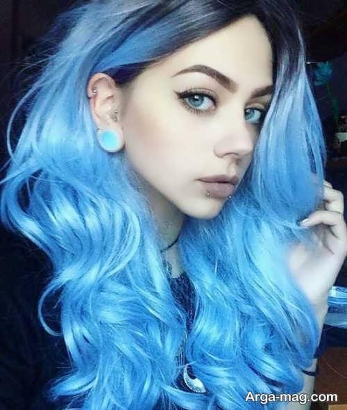 مدل رنگ مو آبی روشن