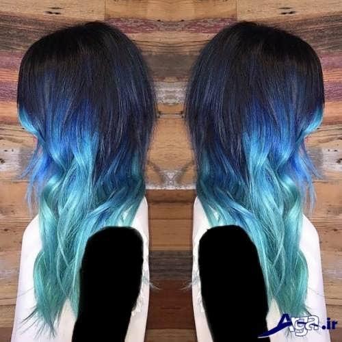 رنگ موی زیبا آبی