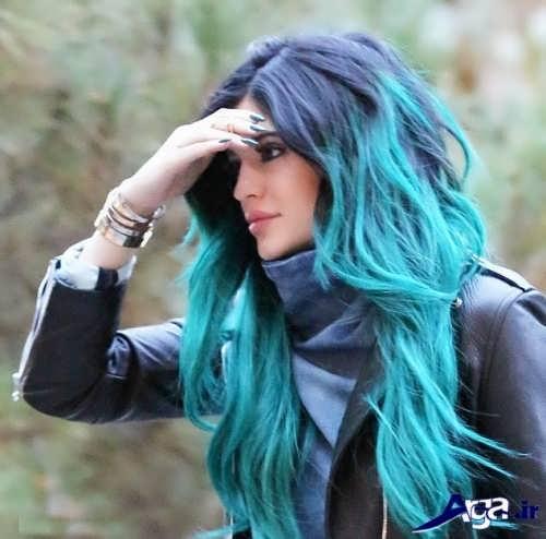 رنگ مو آبی اقیانوسی زیبا