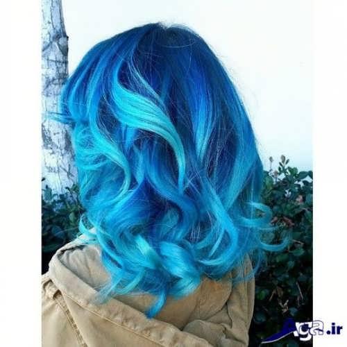 رنگ موی زیبا و جدید آبی