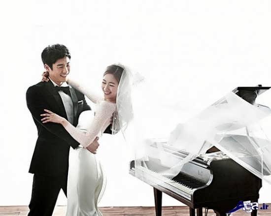 ژست عکس دو نفره برای عروس و داماد