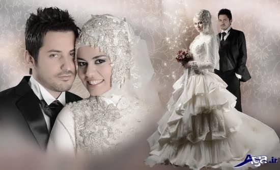 عکس آتلیه ایی عروس و داماد با حجاب