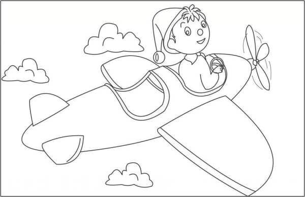 نقاشی هواپیما کارتونی برای رنگ آمیزی کودکان
