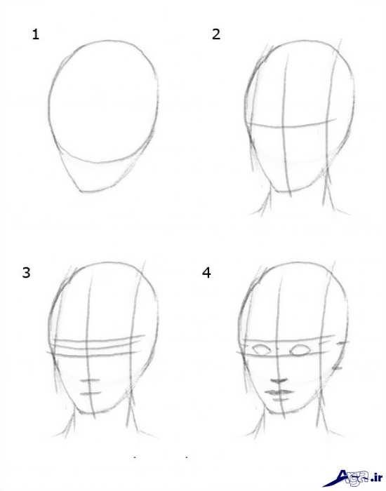 طراحی چهره انسان با سیاه قلم