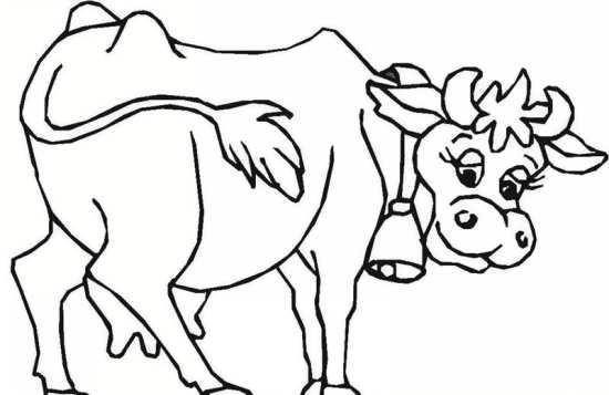 نقاشی گاو برای رنگ آمیی کودکان دختر و پسر