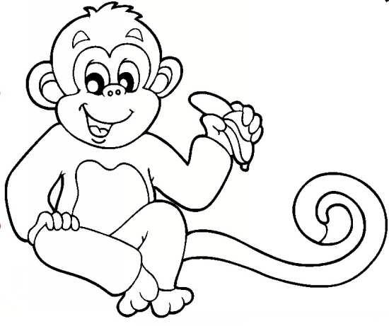 نقاشی میمون برای رنگ آمیزی کودکان