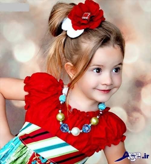 بستن موی دختر بچه ها با گل سر های تزیینی و زیبا