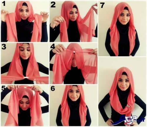 انواع مدل های بستن شال و روسری