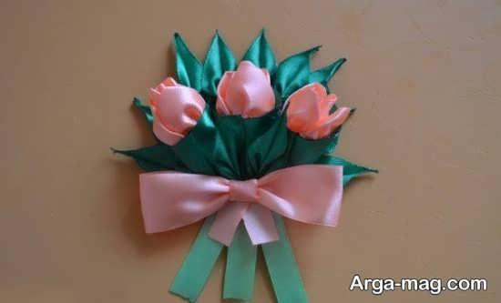 ساختن گل با روبان با طرحی تماشایی