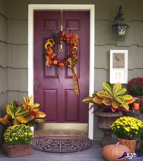 تزیین درب منزل با گل