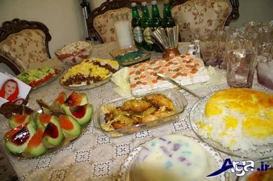 تزیین کردن میز غذا برای جشن تولد