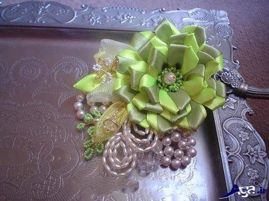 تزیین سینی با گل پارچه ای