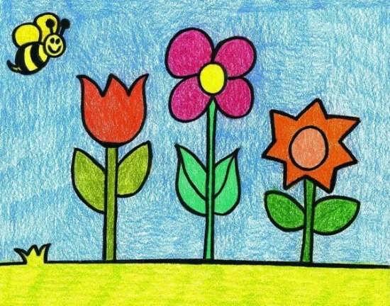 رنگ آمیزی نقاشی گل برای کودکان