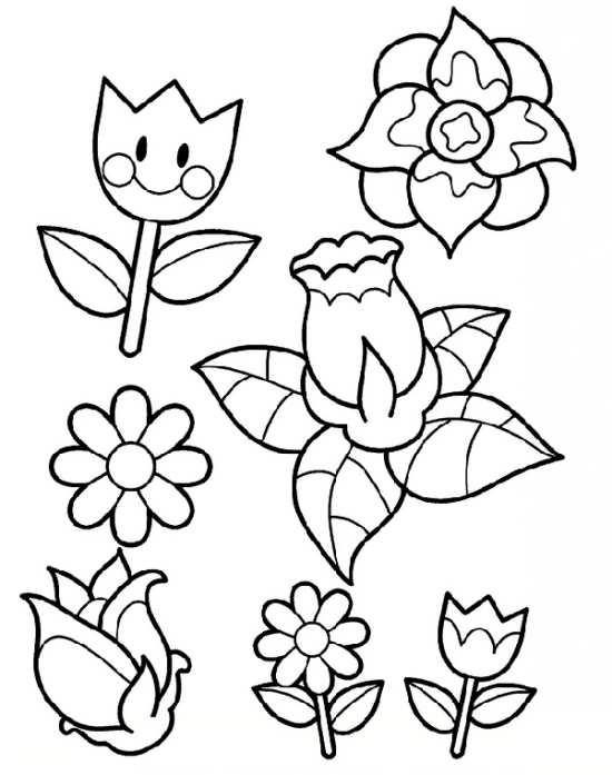 نقاشی گل های زیبا برای رنگ آمیزی کودکان