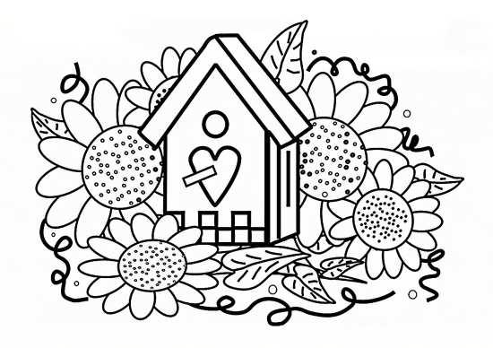 نقاشی خانه و گل برای رنگ آمیزی کودکان
