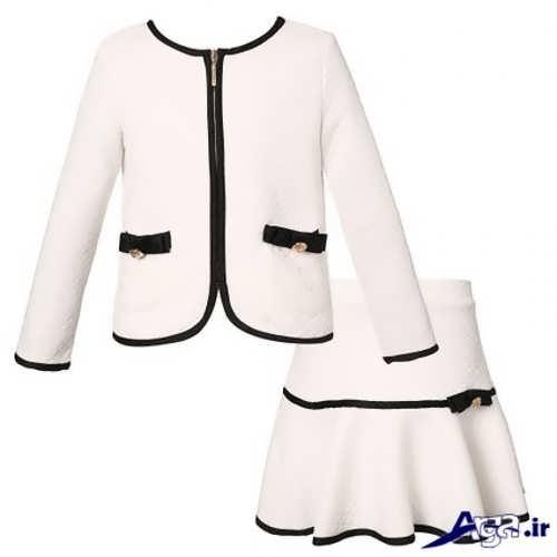 کت و دامن سفید دخترانه