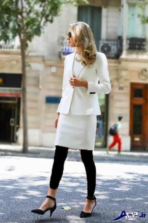 مدل کت و دامن سفید دخترانه با طرح های زیبا