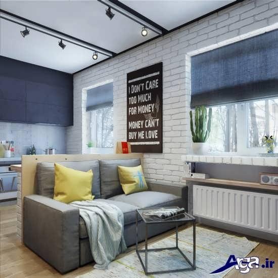 طراحی اتاق نشیمن زیبا برای خانه های 50 متری