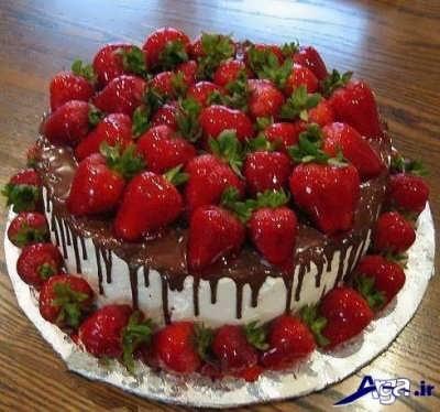 تزیین زیبا کیک توت فرنگی خانگی