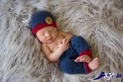 مدل کلاه و شلوار بافتنی نوزاد