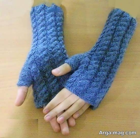 مدل دستکش بافتنی با دو میل