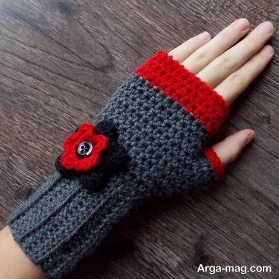 انواع دستکش بافتنی با دو میل