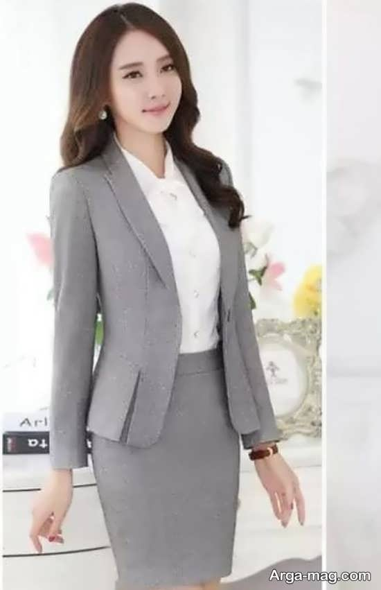 مدل کت دامن کره ای طوسی