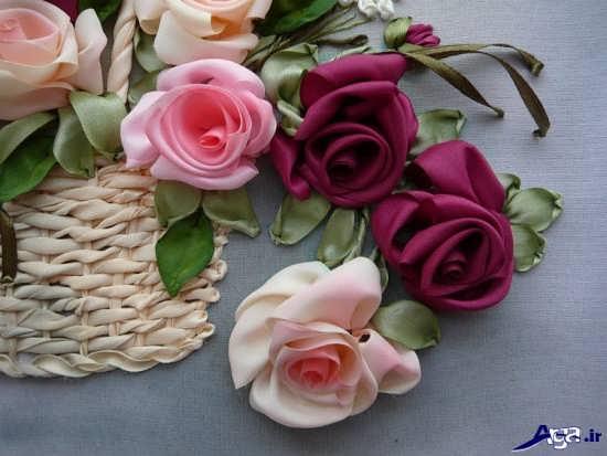 ساخت گل با روبان ساتن و پارچه ای