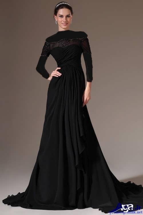 مدل لباس مجلسی بلند و مشکی