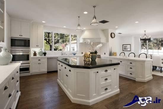 دکوراسیون مدرن و سفید آشپزخانه