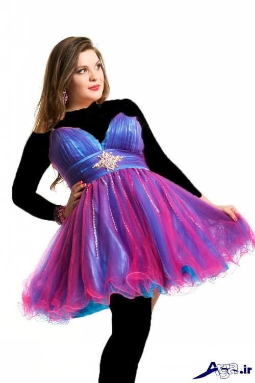 لباس پرنسسی کوتاه برای زنان چاق