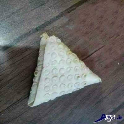 روش پیچیدن سمبوسه پیتزایی