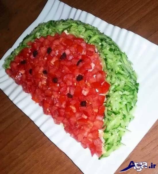 تزیین سالاد شیرازی به شکل هندوانه