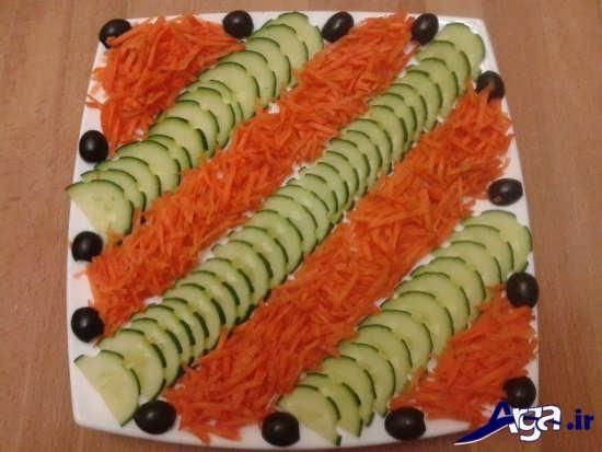 تزیین سالاد هویج و خیار